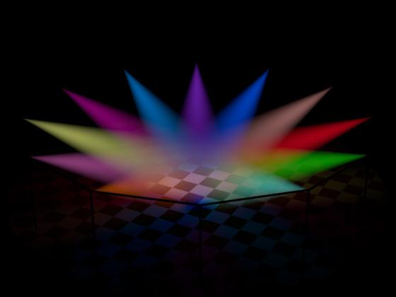Цветные лучи света из урока «Создание разноцветных бликов»
