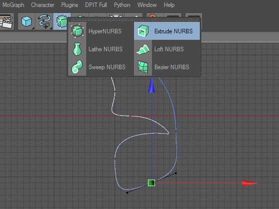 Создаём объект Extrude NURBS для придания нулевой толщины крылу бабочки