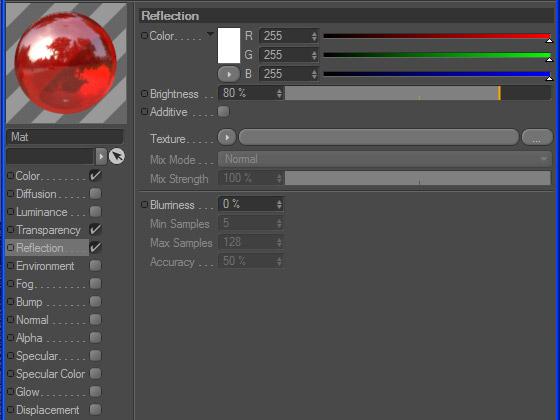 Настройка канала отражения в текстуре