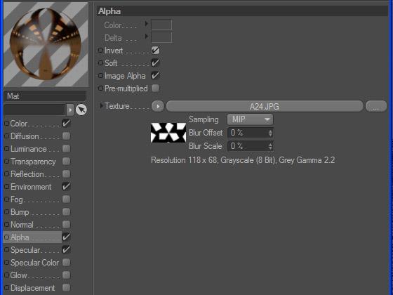 Настройка Альфа-канала в текстуре