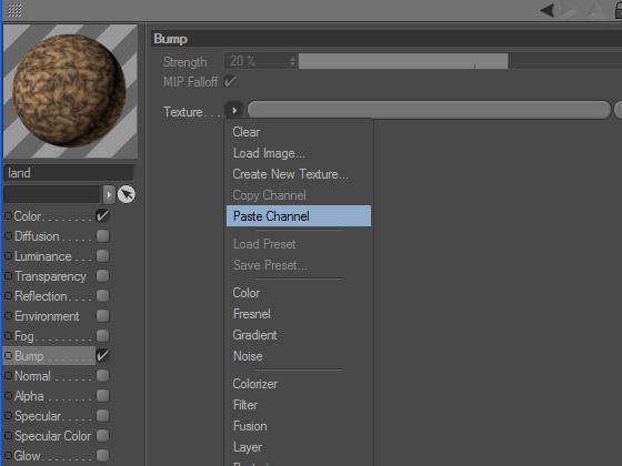 Размещаем процедурную текстуру из буфера в настройках канала рельефного искажения