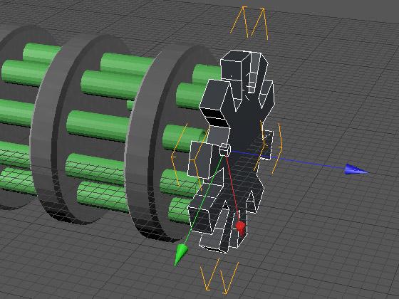 Подгоняем зубчатое колесо вплотную к стволам турели
