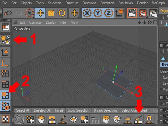 Превращаем плоскость в полигональный объект и выбираем инструмент «Нож»
