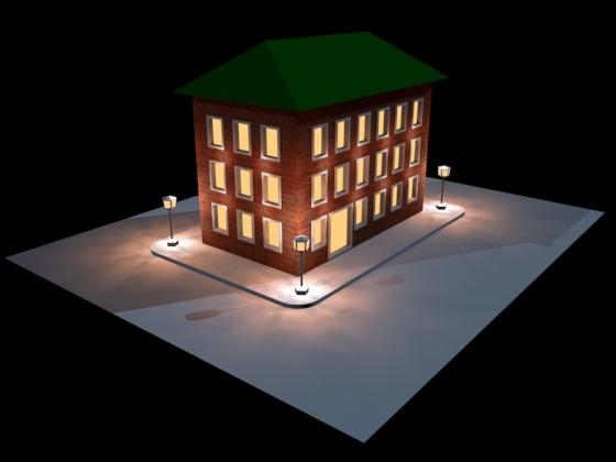 А вот так выглядит ночью освещённое здание
