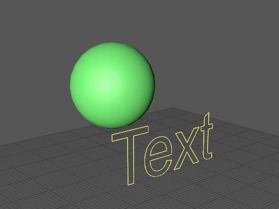 Если в трёхмерной сцене с текстовым сплайном имеется шар...