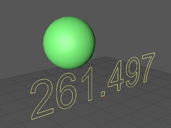 Текстовое содержимое сплайна отображает позицию шара по вертикали