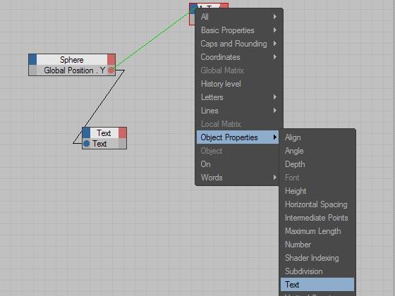 Заменим передачу положения шара по вертикали текстовому сплайну на передачу значения объекту MoText