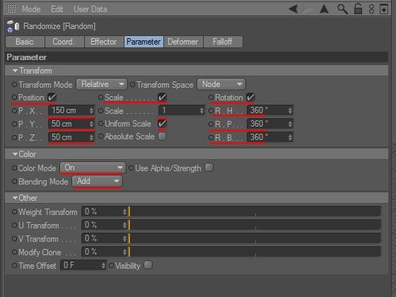 Назначаем эффектор «Random» символам текста объекта MoText