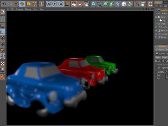 Синий и зелёный автомобиль размыты, резкость зафиксирована на красном автомобиле