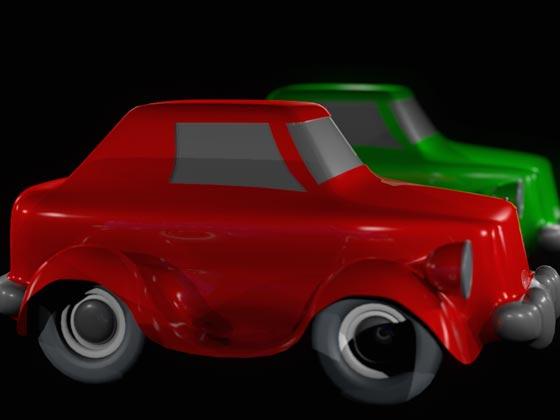 Спрятанный от камеры синий автомобиль продолжает бросать тень на красный автомобиль
