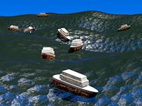 Движущиеся по морским волнам корабли