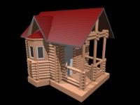 3D модель: Бревенчатый домик с эркером